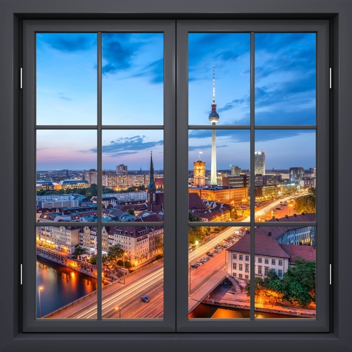 Fototapeta winylowa Okno czarne zamknięte - Widok na Berlin - Widok przez okno
