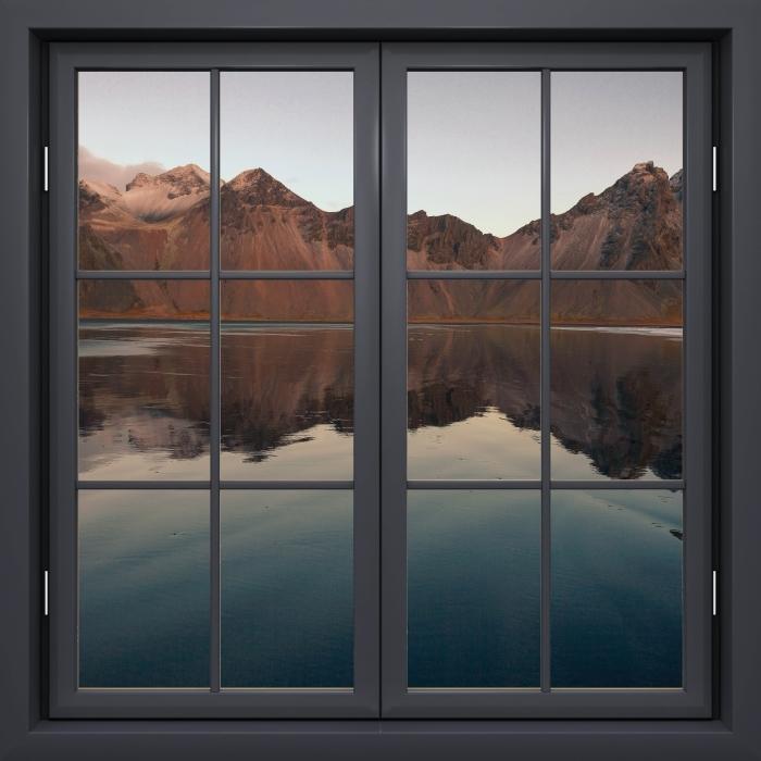 Papier peint vinyle Fenêtre Noire Fermée - Île - La vue à travers la fenêtre