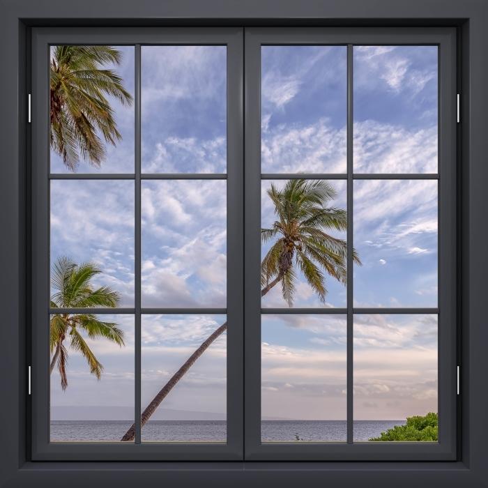 Fototapeta winylowa Okno czarne zamknięte - Palmy - Widok przez okno