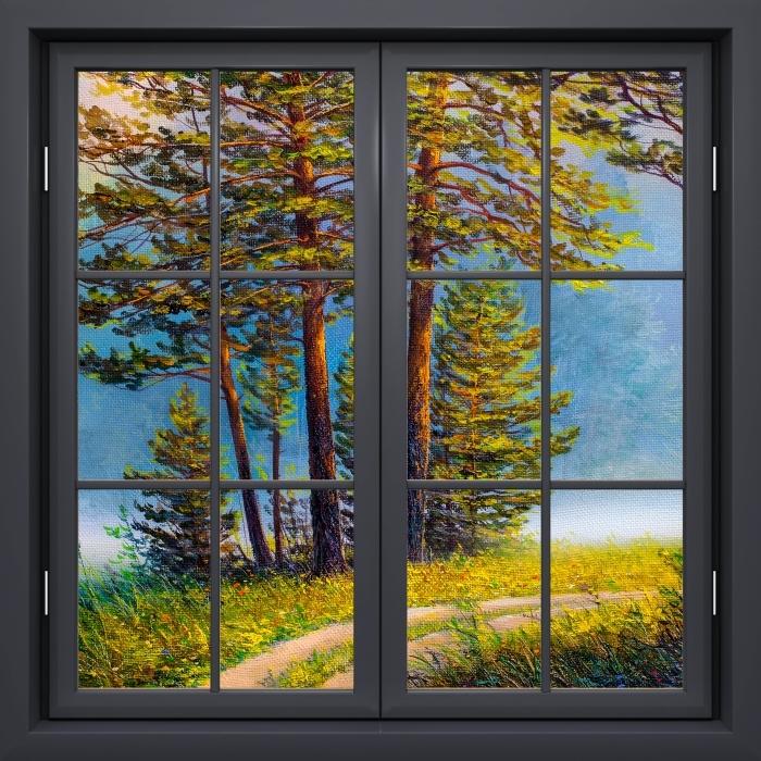 Fototapeta winylowa Okno czarne zamknięte - Letni las - Widok przez okno