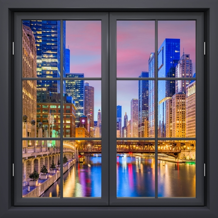 Fototapeta winylowa Okno czarne zamknięte - Chicago, Illinois, USA. - Widok przez okno