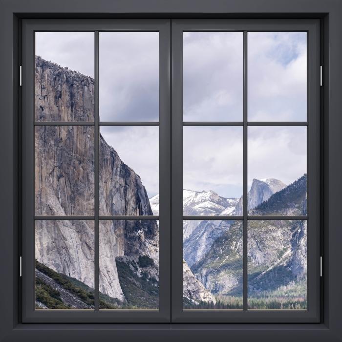 Papier peint vinyle Fenêtre Noire Fermée - Parc National De Yosemite - La vue à travers la fenêtre