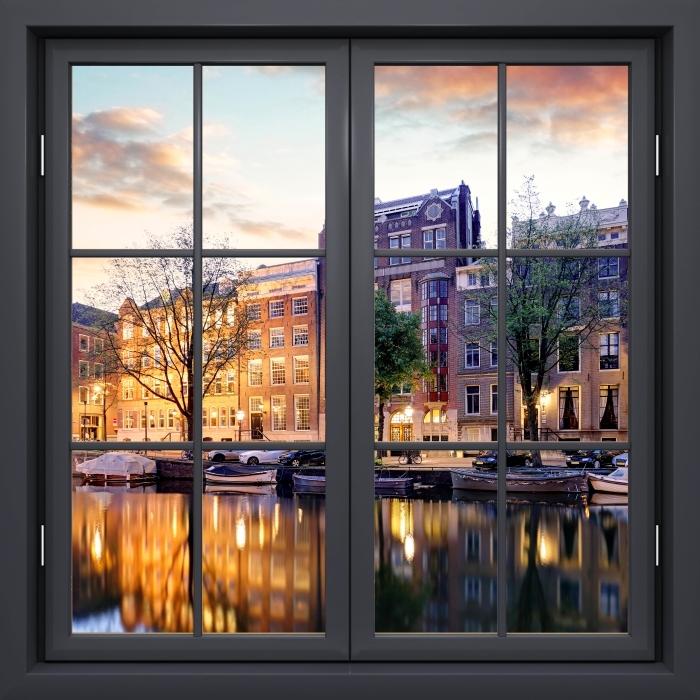 Fotomural Estándar Ventana De Negro Cerrado - Ámsterdam. Países Bajos. - Vistas a través de la ventana