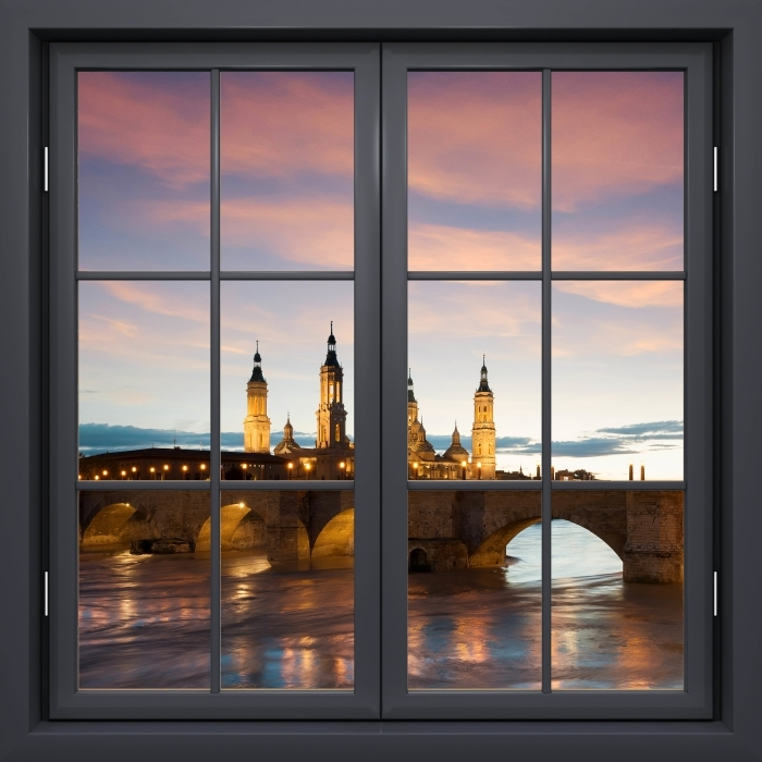 Vinyl Fotobehang Black raam gesloten - Cathedral. Spanje. - Uitzicht door het raam