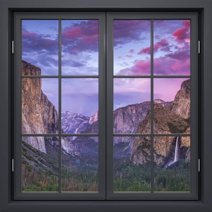 Vinyl-Fototapete Schwarz Fenster geschlossen - Yosemite Nationalpark - Blick durch das Fenster