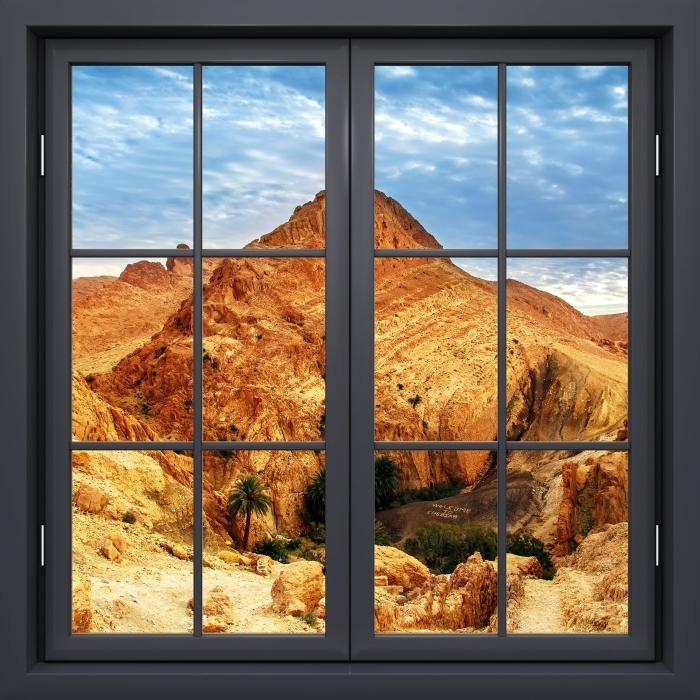 Vinyl-Fototapete Schwarz Fenster geschlossen - Bergoase - Blick durch das Fenster