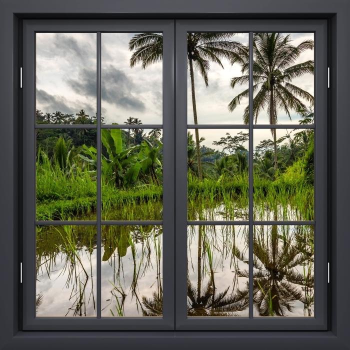 Fototapeta winylowa Okno czarne zamknięte - Palmy. Indonezja. - Widok przez okno