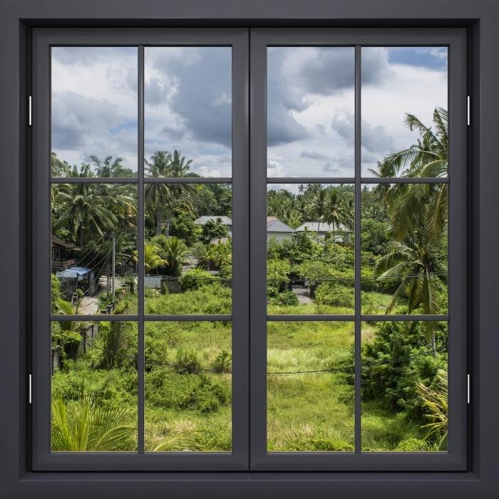 Papier peint vinyle Fenêtre Noire Fermée - Rice Field - La vue à travers la fenêtre