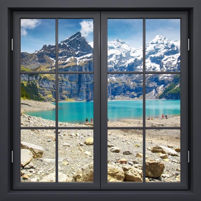 Papier peint vinyle Fenêtre Noire Fermée - Lac. Suisse - La vue à travers la fenêtre