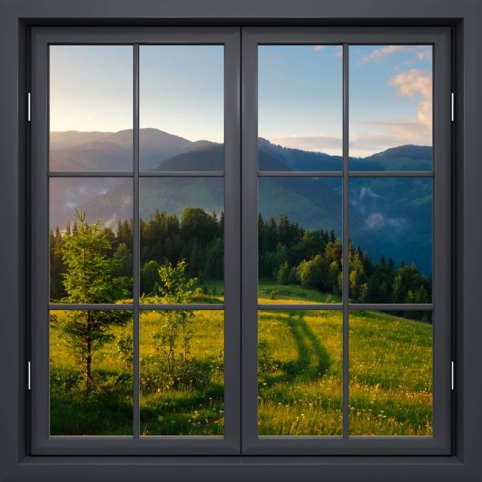 Papier peint vinyle Fenêtre Noire Fermée - Mountain Valley - La vue à travers la fenêtre
