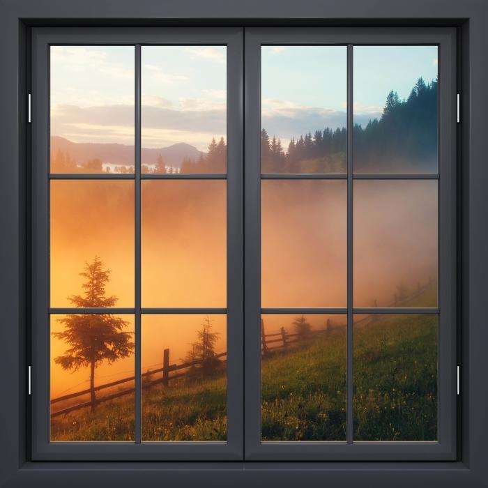 Papier peint vinyle Fenêtre Noire Fermée - Vallée De Montagne Au Lever Du Soleil - La vue à travers la fenêtre