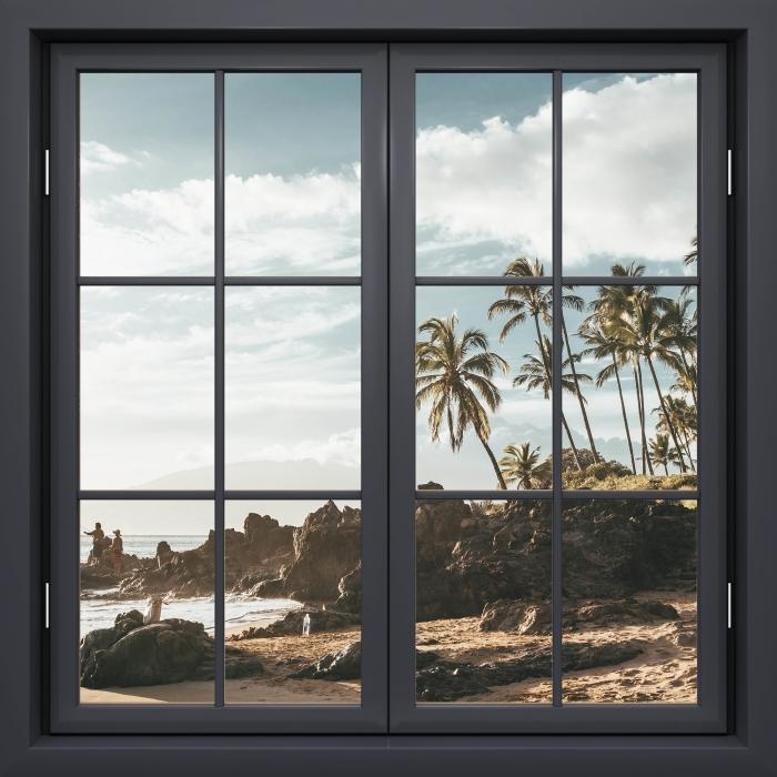 Papier peint vinyle Fenêtre Noire Fermée - Palma. Hawaï. - La vue à travers la fenêtre