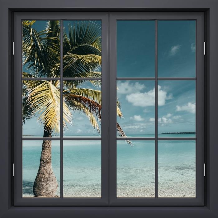 Papier peint vinyle Fenêtre Noire Fermée - Cuisine Arbre Palm Island - La vue à travers la fenêtre