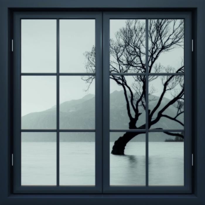 Papier peint vinyle Fenêtre Noire Fermée - Paysage. Nouvelle-Zélande - La vue à travers la fenêtre