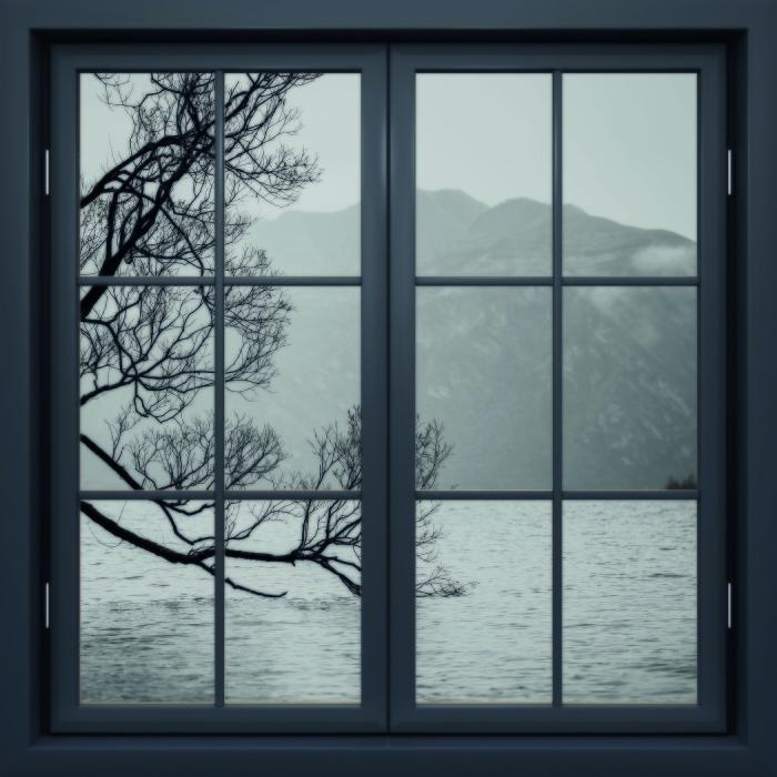 Black window closed - landscape. New Zealand Vinyl Wall Mural - View through the window