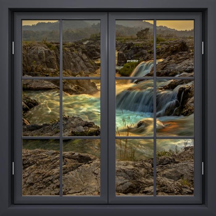 Naklejka Pixerstick Okno czarne zamknięte - Wodospad - Widok przez okno