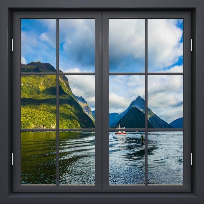 Vinyl-Fototapete Schwarz Fenster geschlossen - Küste und Berge - Blick durch das Fenster