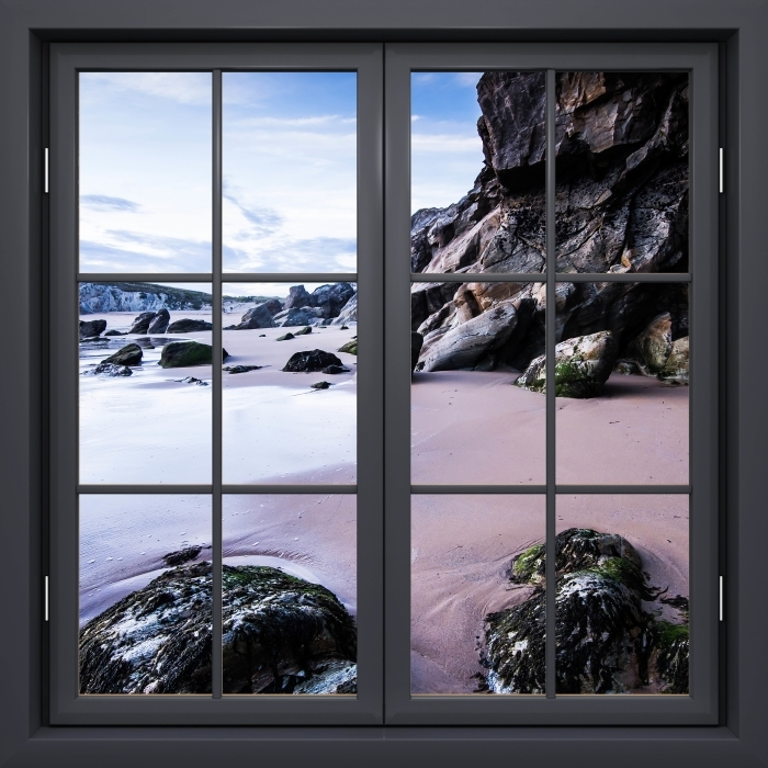 Black window closed - Coast in France. Vinyl Wall Mural - View through the window