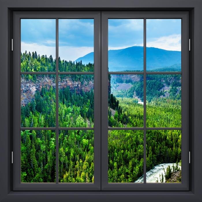 Vinyl-Fototapete Schwarz Fenster geschlossen - Kolumbien. - Blick durch das Fenster