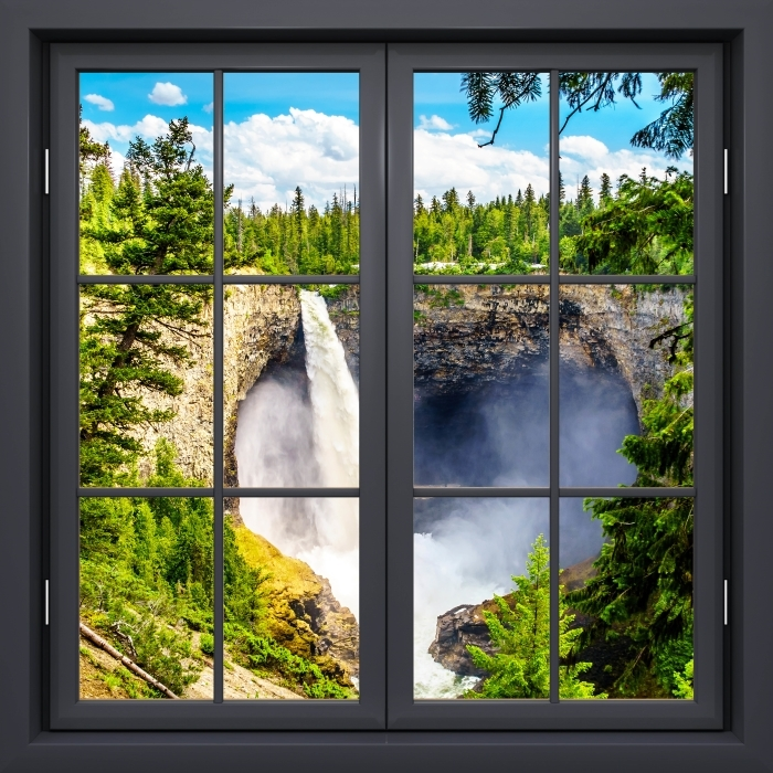 Fototapeta winylowa Okno czarne zamknięte - Góry. Kanada. - Widok przez okno