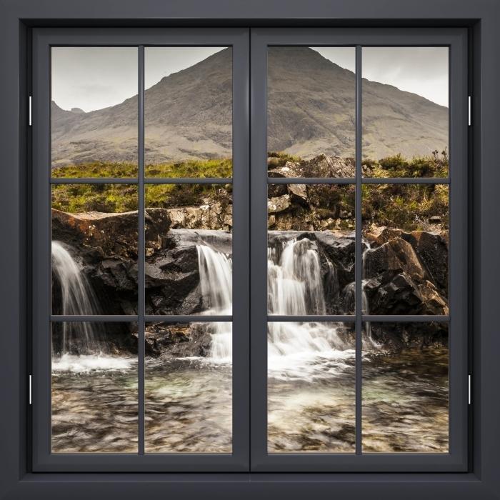 Papier peint vinyle Fenêtre Noire Fermée - Piscines Fée - La vue à travers la fenêtre