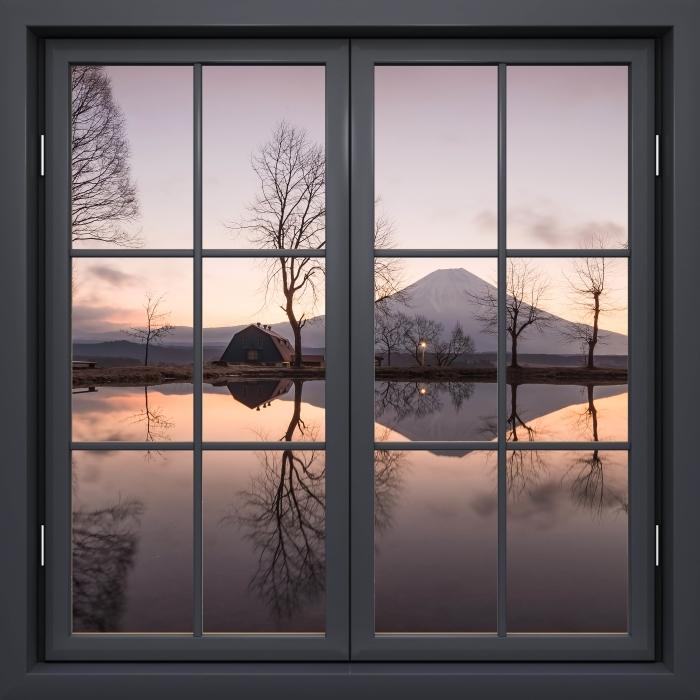 Papier peint vinyle Fenêtre Noire Fermée - Mont Fuji - La vue à travers la fenêtre