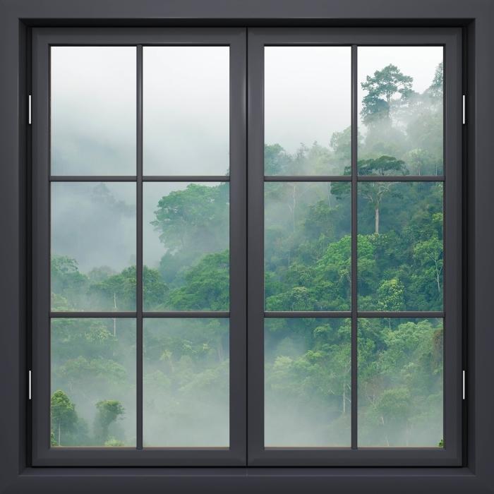 Vinyl-Fototapete Schwarz Fenster geschlossen - Regenwald - Blick durch das Fenster