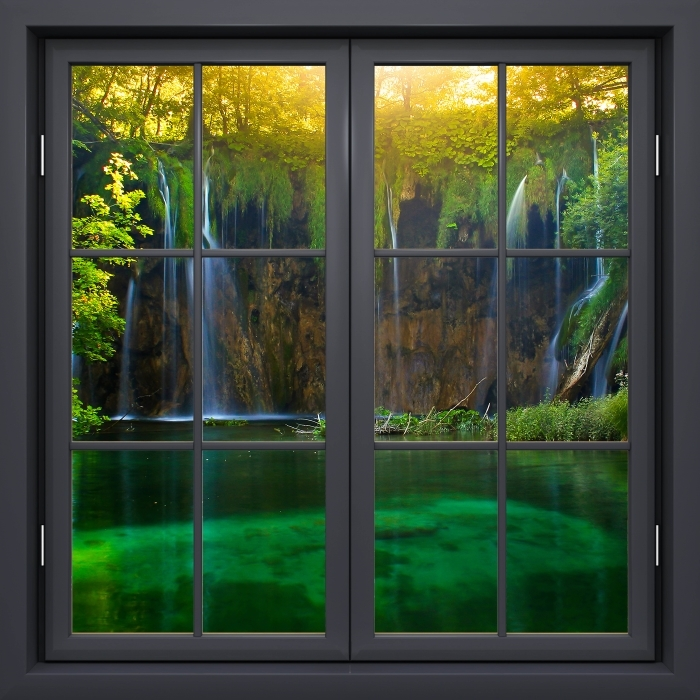 Vinyl Fotobehang Black raam gesloten - Plitvice Meren. Kroatië. - Uitzicht door het raam