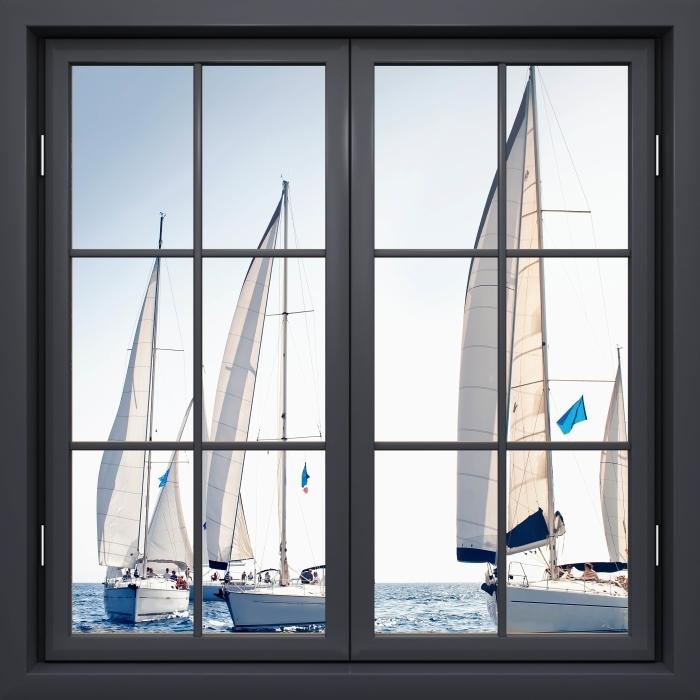 Fototapeta winylowa Okno czarne zamknięte - Jachty z białymi żaglami - Widok przez okno