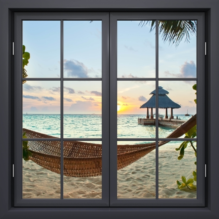 Black window closed - Hammock and sun Vinyl Wall Mural - View through the window