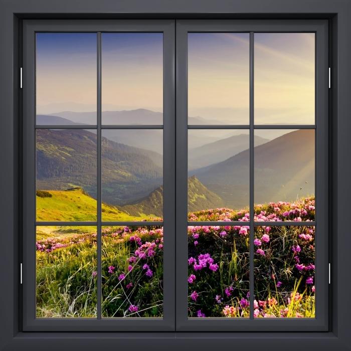 Vinyl-Fototapete Schwarz Fenster geschlossen - Berglandschaft - Blick durch das Fenster