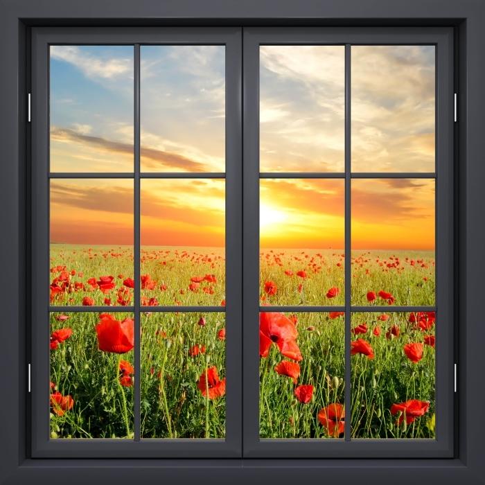 Fototapeta winylowa Okno czarne zamknięte - Pole maku - Widok przez okno