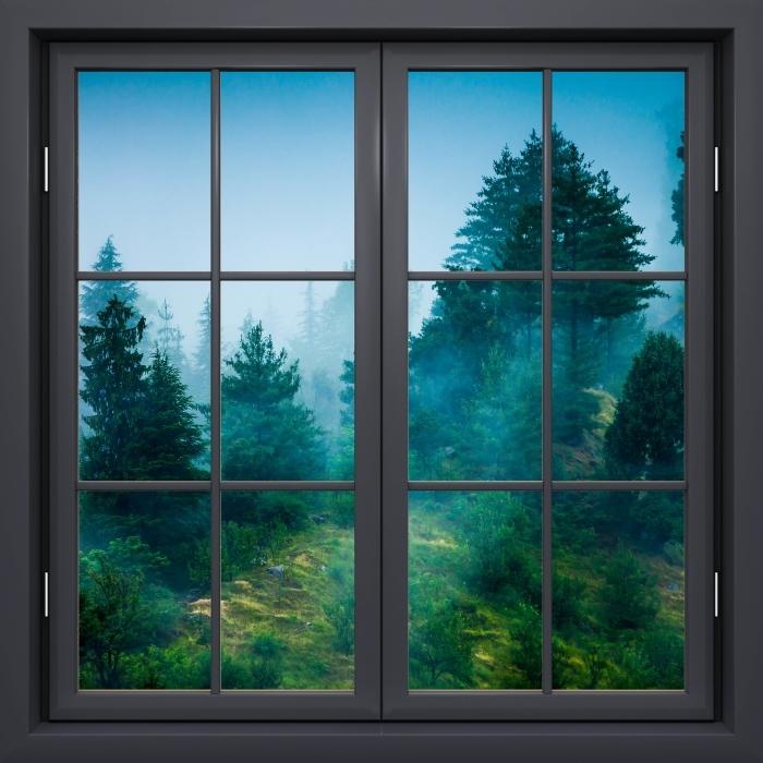 Papier peint vinyle Fenêtre Noire Fermée - Haze - La vue à travers la fenêtre