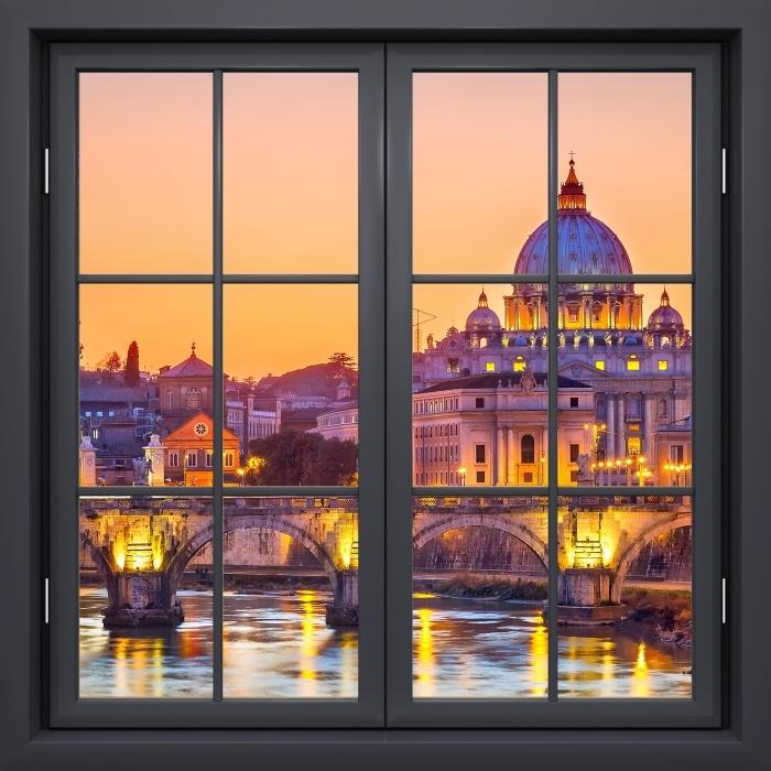 Papier peint vinyle Fenêtre Noire Fermée - Cathédrale Saint-Pierre. Rome - La vue à travers la fenêtre