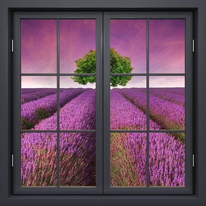Black window closed - Summer landscape Vinyl Wall Mural - View through the window
