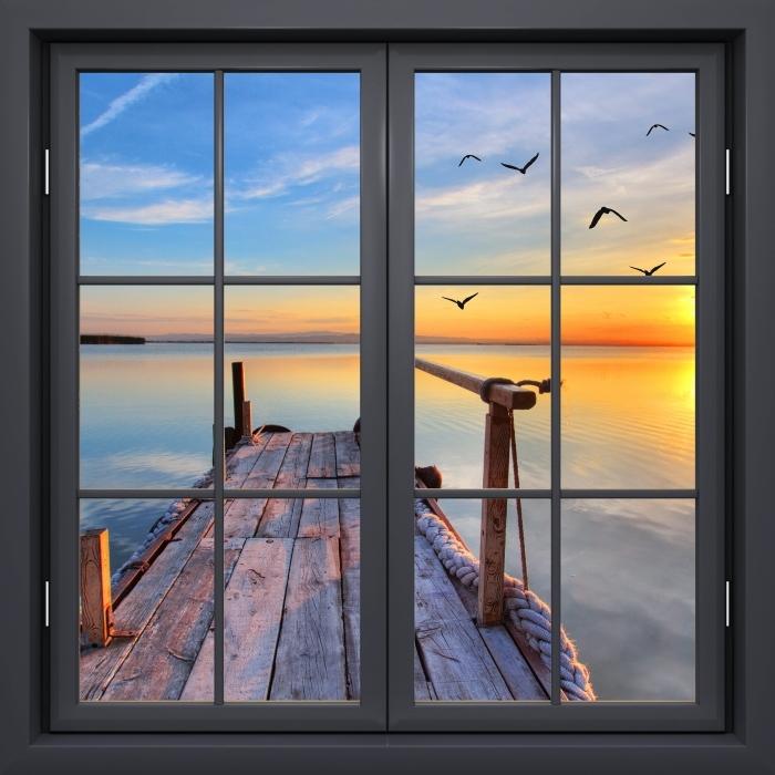 Papier peint vinyle Fenêtre Noire Fermée - Lac - La vue à travers la fenêtre