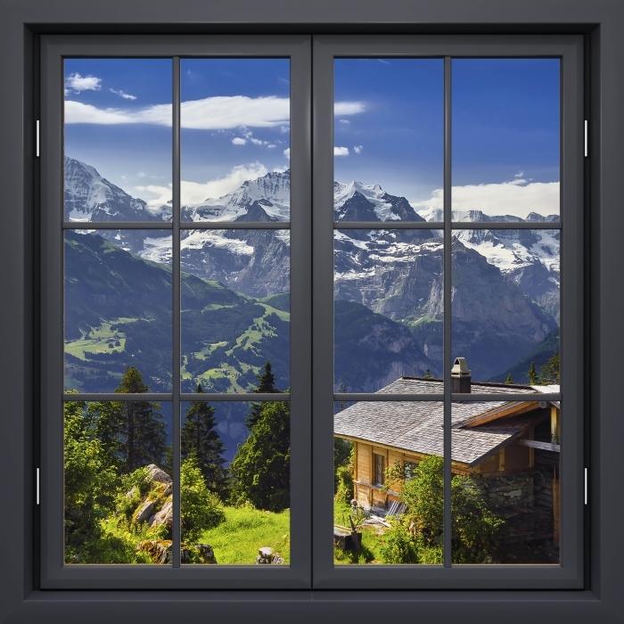 Papier peint vinyle Fenêtre Noire Fermée - Montagne - La vue à travers la fenêtre