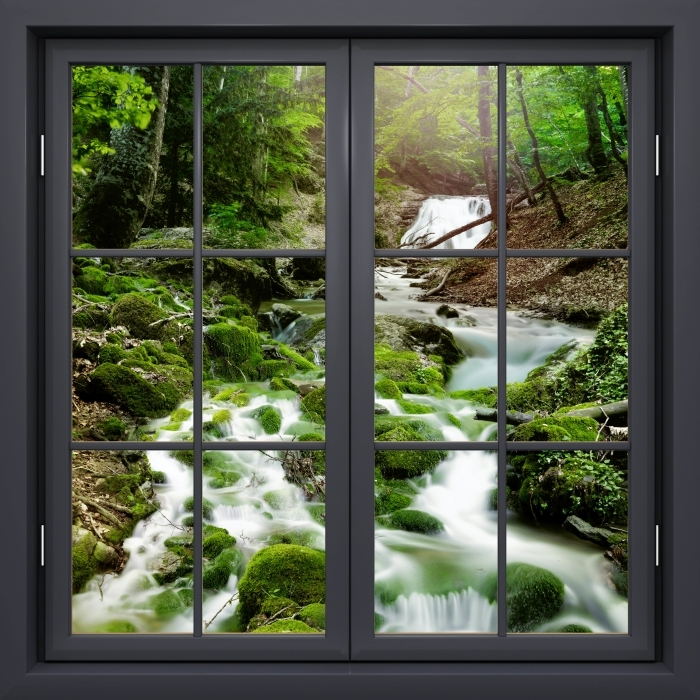 Vinyl-Fototapete Schwarz Fenster geschlossen - Wald und Wasserfall - Blick durch das Fenster