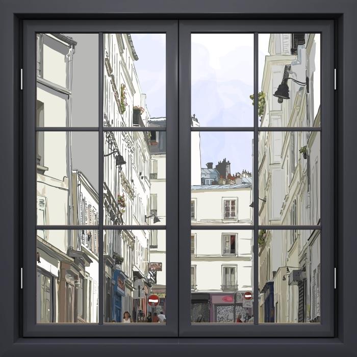 Papier peint vinyle Fenêtre Noire Fermée - Paris - La vue à travers la fenêtre