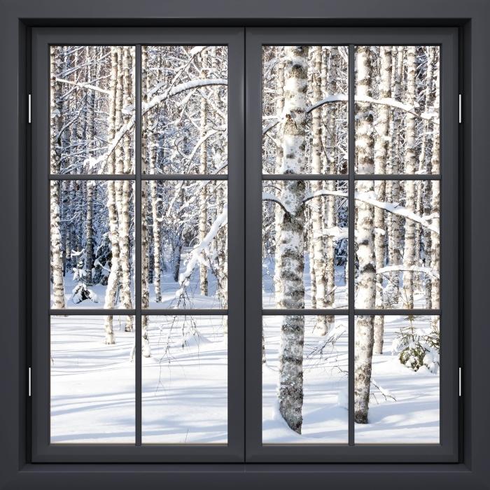 Papier peint vinyle Fenêtre Noire Fermée - Bouleau Neige - La vue à travers la fenêtre