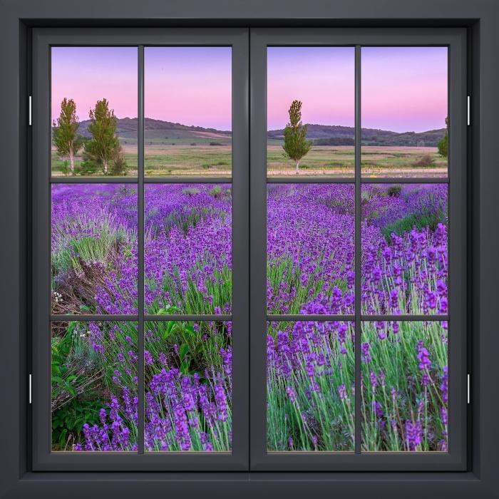 Fototapeta winylowa Okno czarne zamknięte - Zachód słońca. Węgry. - Widok przez okno
