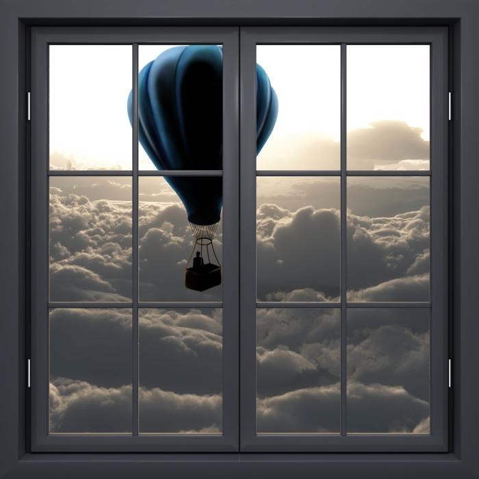 Fototapeta winylowa Okno czarne zamknięte - Balon na niebie - Widok przez okno