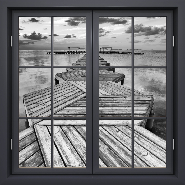 Black window closed - Marina Vinyl Wall Mural - View through the window