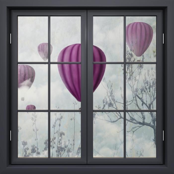 Papier peint vinyle Fenêtre Noire Fermée - Ballons Dans Le Ciel - La vue à travers la fenêtre