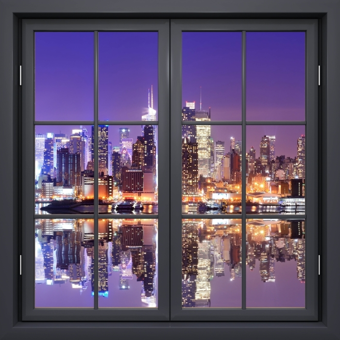 Fototapeta winylowa Okno czarne zamknięte - Manhattan - Widok przez okno