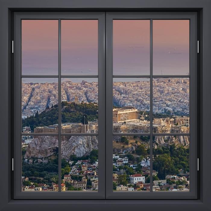 Papier peint vinyle Fenêtre Noire Fermée - Parthénon. Grèce - La vue à travers la fenêtre