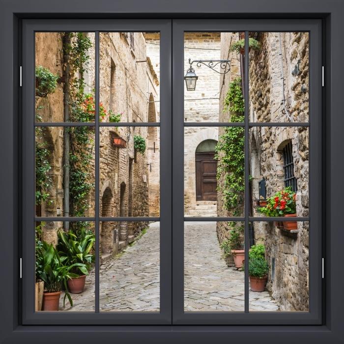Papier peint vinyle Fenêtre Noire Fermée - Italie - La vue à travers la fenêtre