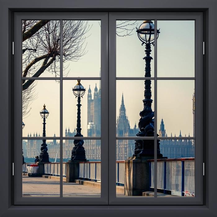 Fototapeta winylowa Okno czarne zamknięte - Big Ben. Londyn. - Widok przez okno