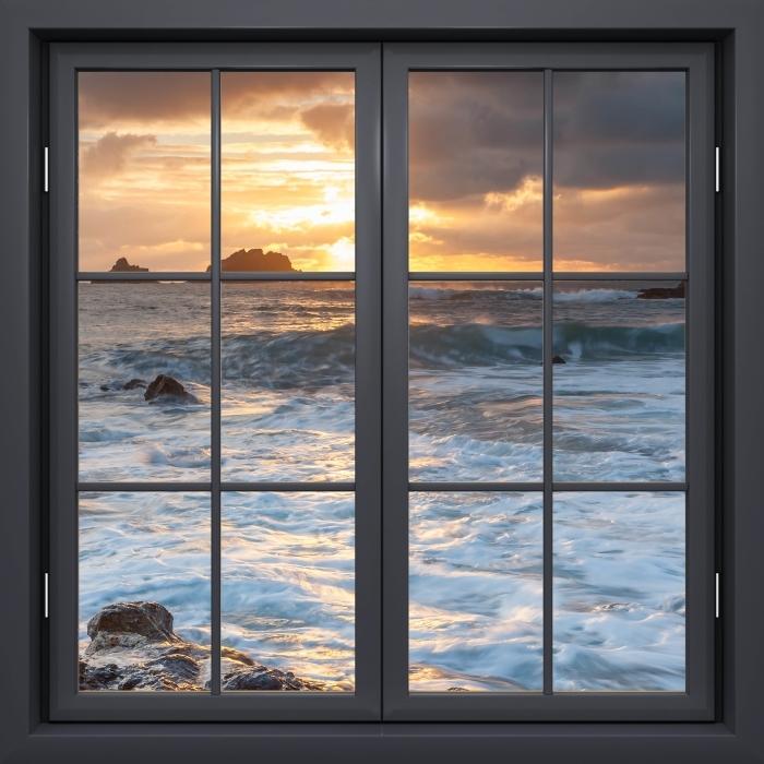 Papier peint vinyle Fenêtre Noire Fermée - Royaume-Uni - La vue à travers la fenêtre