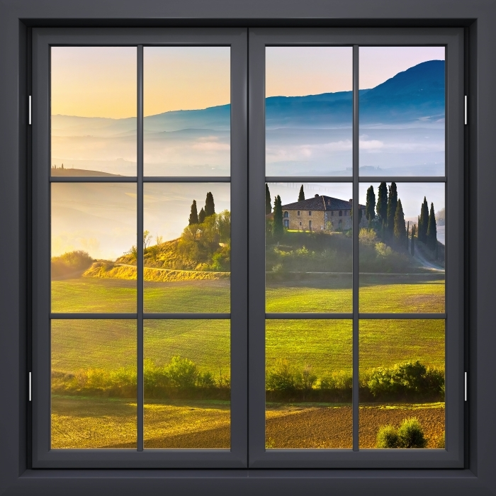 Papier peint vinyle Fenêtre Noire Fermée - Aube Toscane - La vue à travers la fenêtre